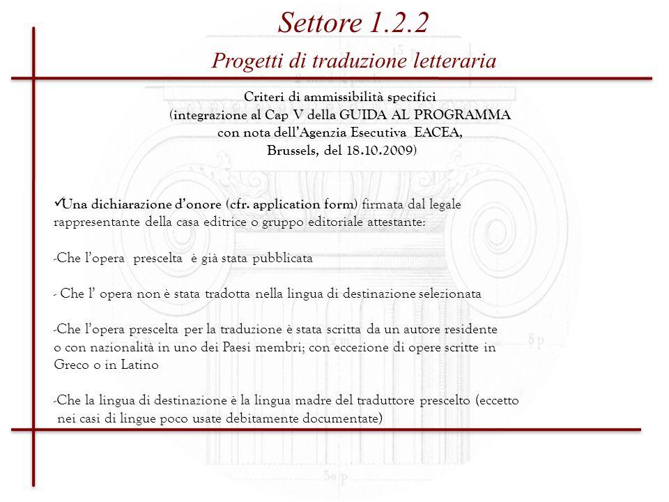 Settore 1.2.2 Progetti di traduzione letteraria