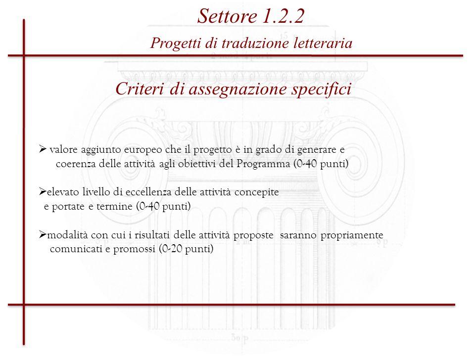 Settore 1.2.2 Criteri di assegnazione specifici