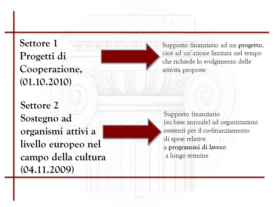 Settore 1 Progetti di Cooperazione, (01.10.2010) Settore 2