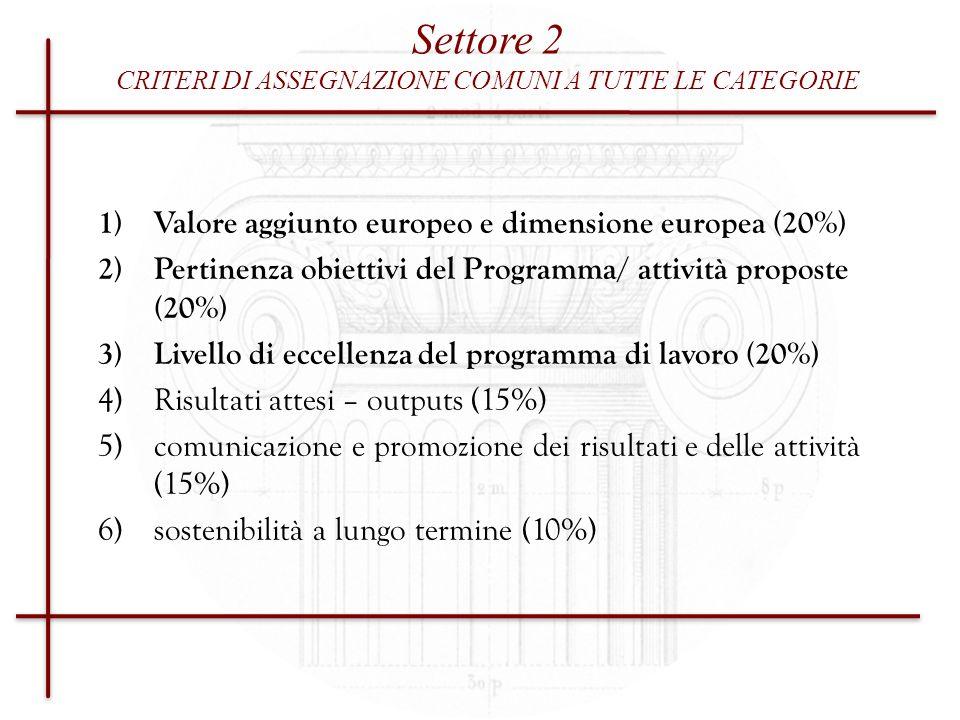 CRITERI DI ASSEGNAZIONE COMUNI A TUTTE LE CATEGORIE