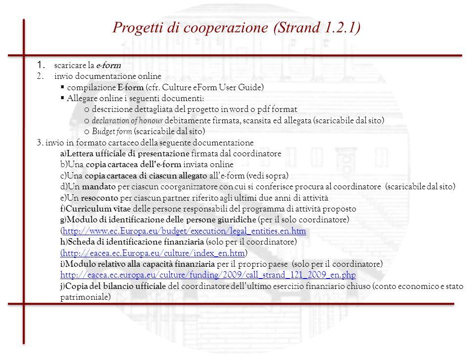 Progetti di cooperazione (Strand 1.2.1)