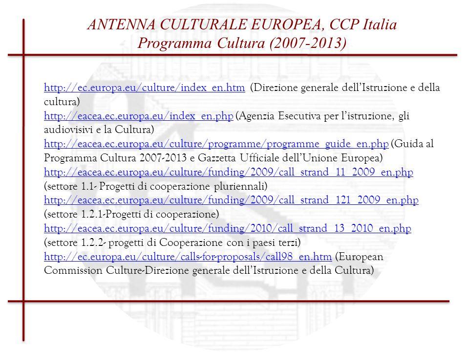 ANTENNA CULTURALE EUROPEA, CCP Italia