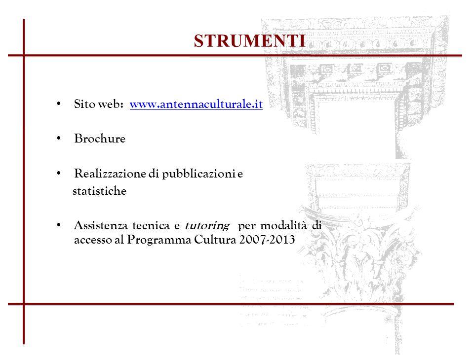 STRUMENTI Sito web: www.antennaculturale.it. Brochure. Realizzazione di pubblicazioni e. statistiche.