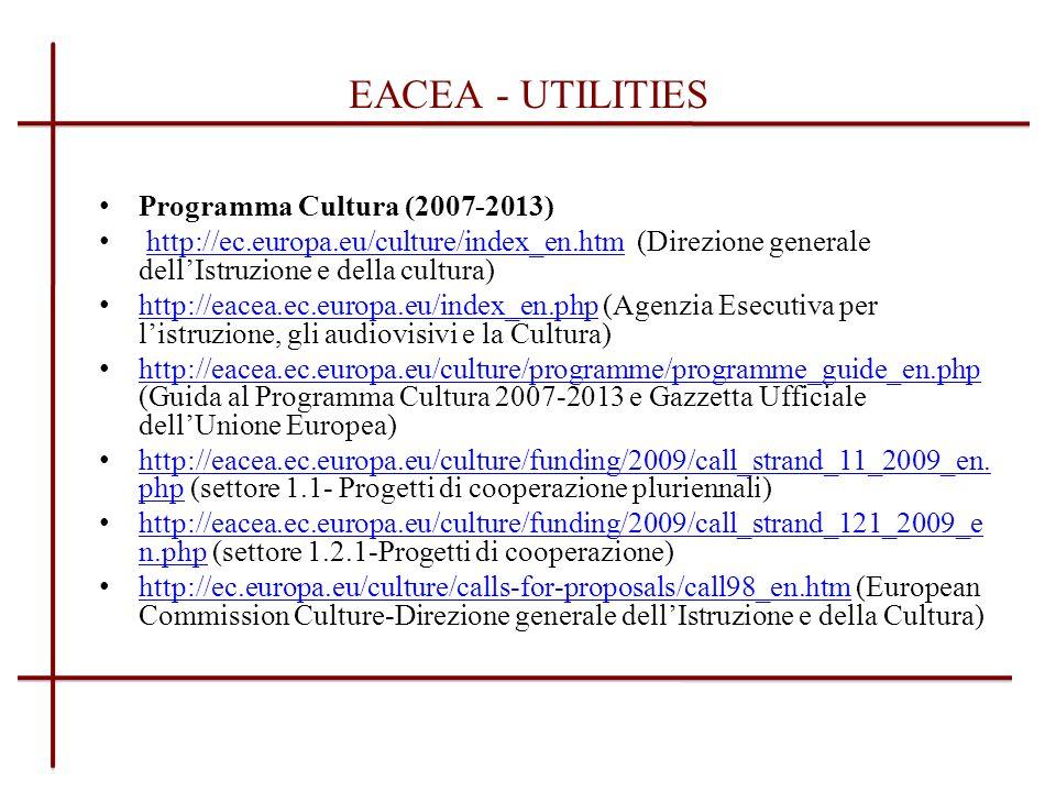 EACEA - UTILITIES Programma Cultura (2007-2013)