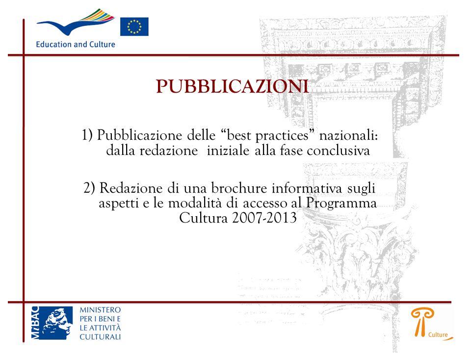 PUBBLICAZIONI 1) Pubblicazione delle best practices nazionali: dalla redazione iniziale alla fase conclusiva.