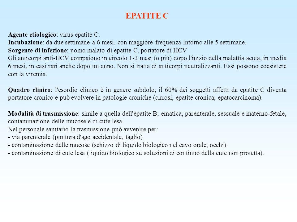 EPATITE C Agente etiologico: virus epatite C.