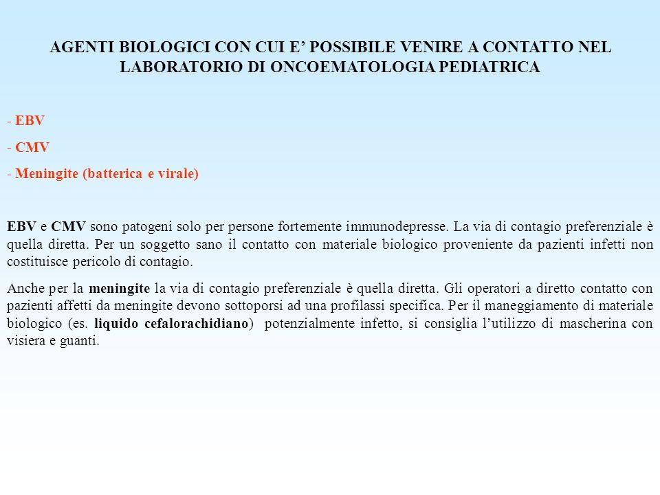 AGENTI BIOLOGICI CON CUI E' POSSIBILE VENIRE A CONTATTO NEL LABORATORIO DI ONCOEMATOLOGIA PEDIATRICA