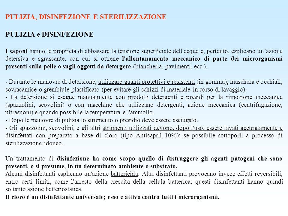 PULIZIA, DISINFEZIONE E STERILIZZAZIONE PULIZIA e DISINFEZIONE