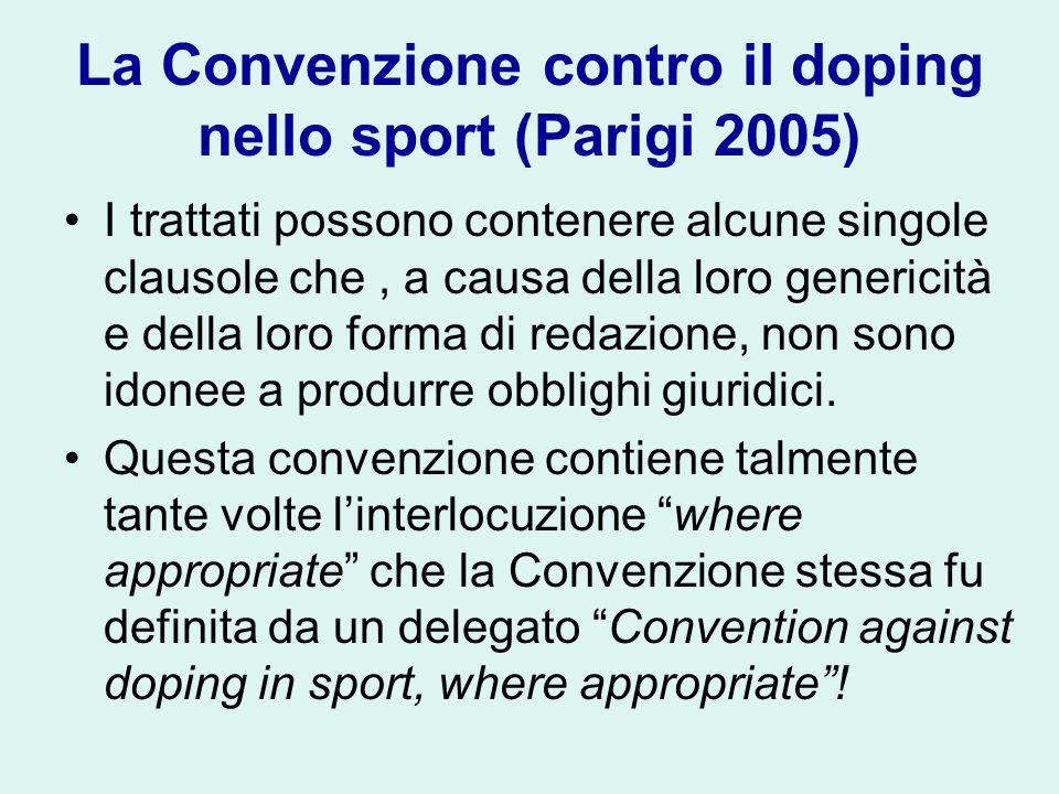 La Convenzione contro il doping nello sport (Parigi 2005)