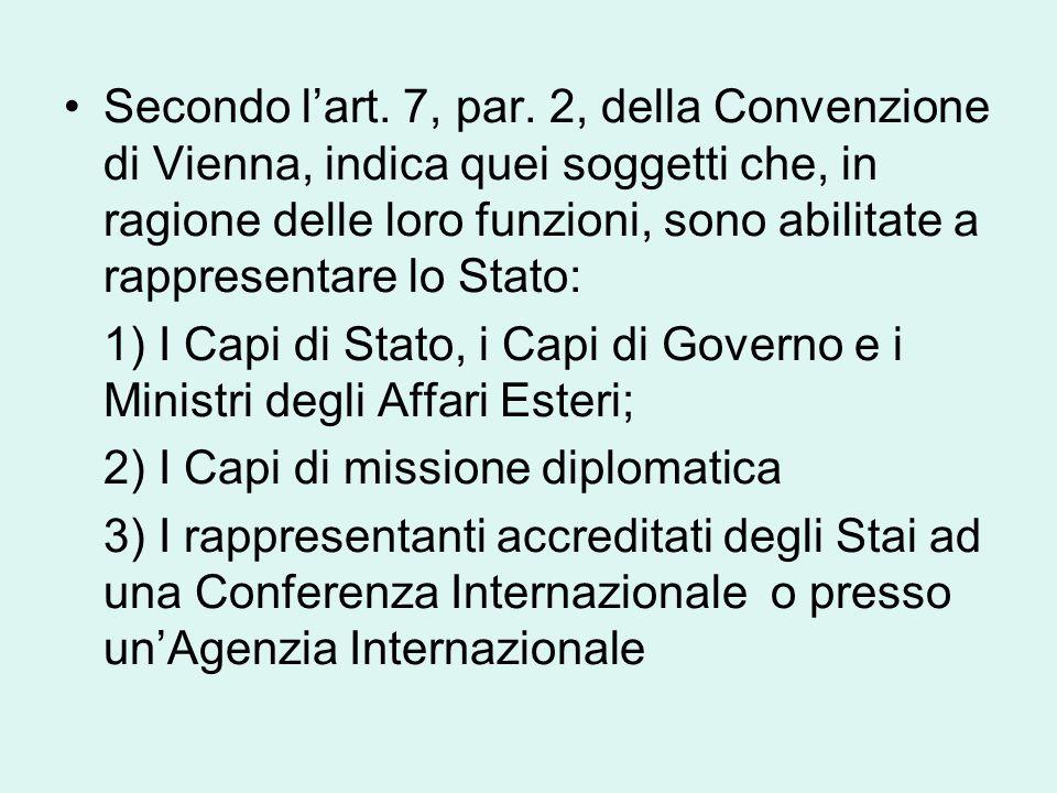 Secondo l'art. 7, par. 2, della Convenzione di Vienna, indica quei soggetti che, in ragione delle loro funzioni, sono abilitate a rappresentare lo Stato: