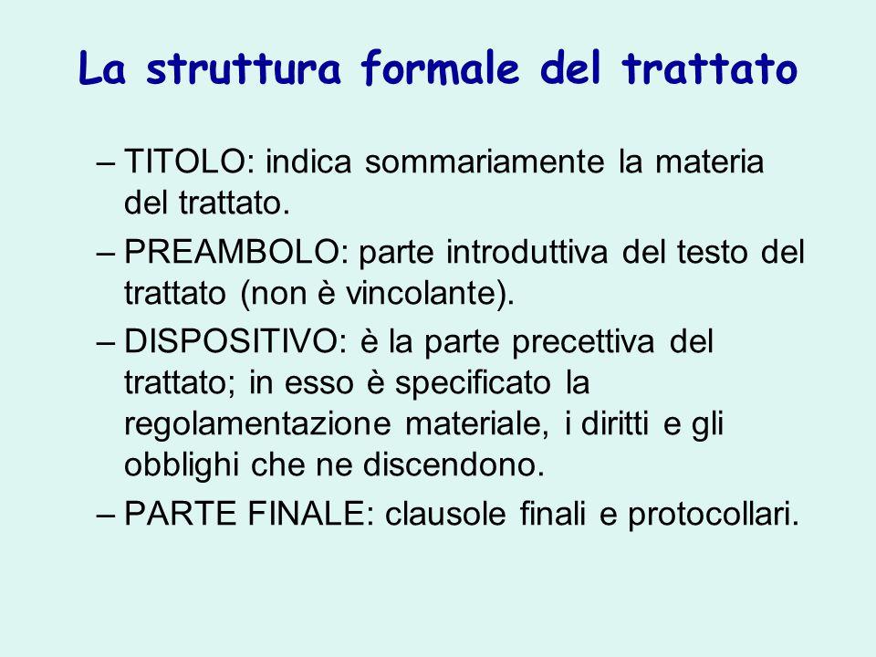 La struttura formale del trattato