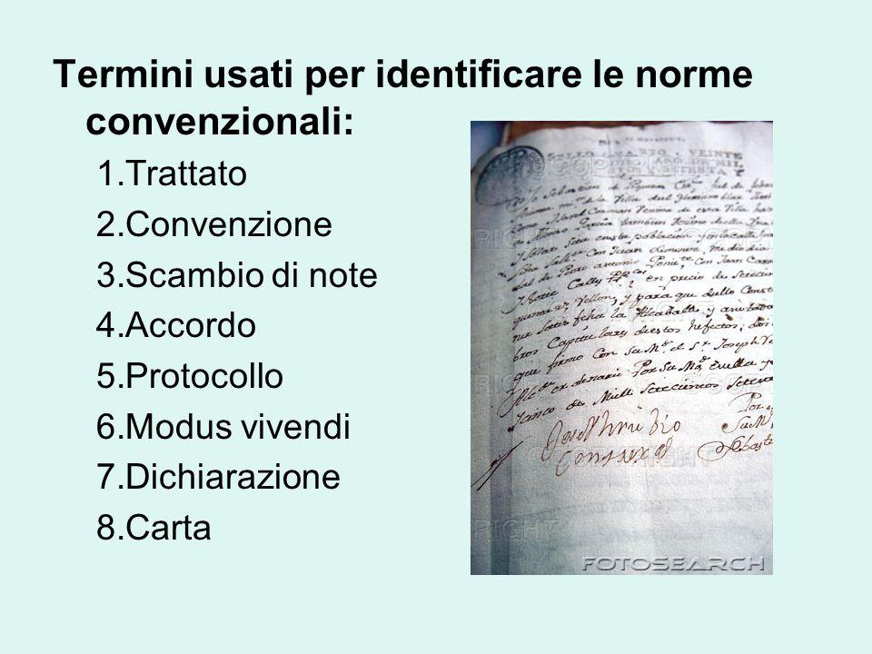 Termini usati per identificare le norme convenzionali: