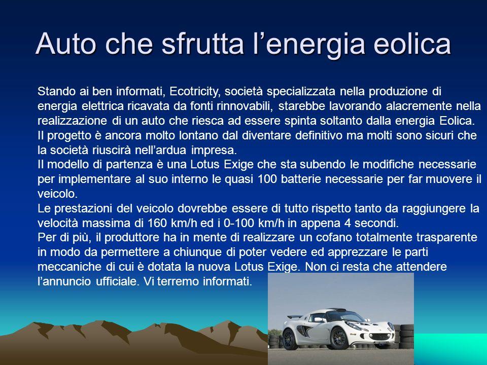 Auto che sfrutta l'energia eolica