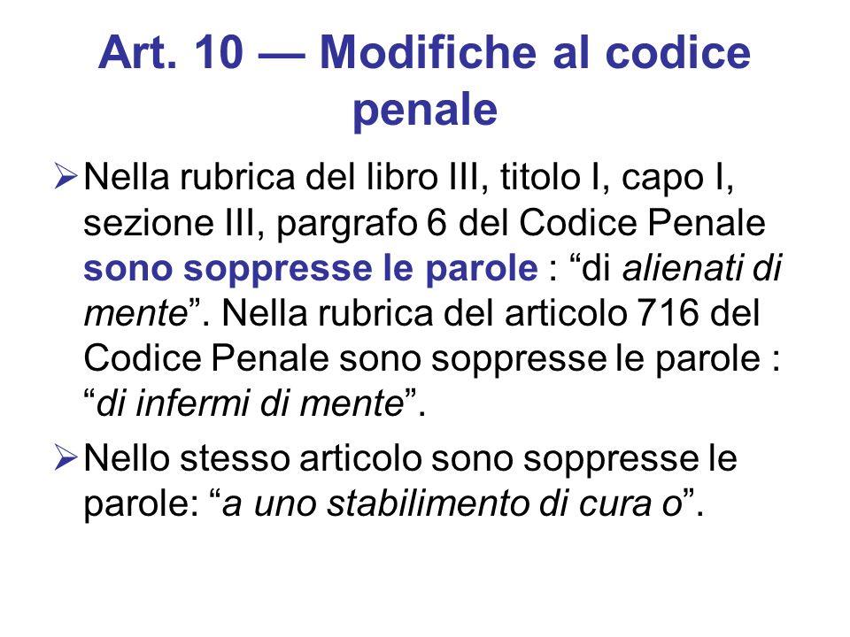 Art. 10 — Modifiche al codice penale