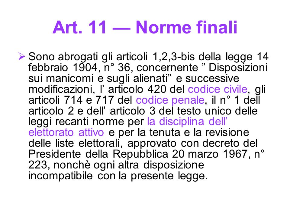 Art. 11 — Norme finali