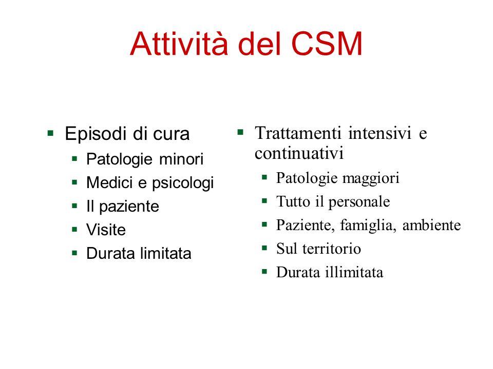 Attività del CSM Trattamenti intensivi e continuativi Episodi di cura