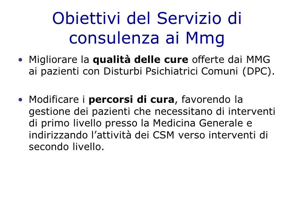 Obiettivi del Servizio di consulenza ai Mmg