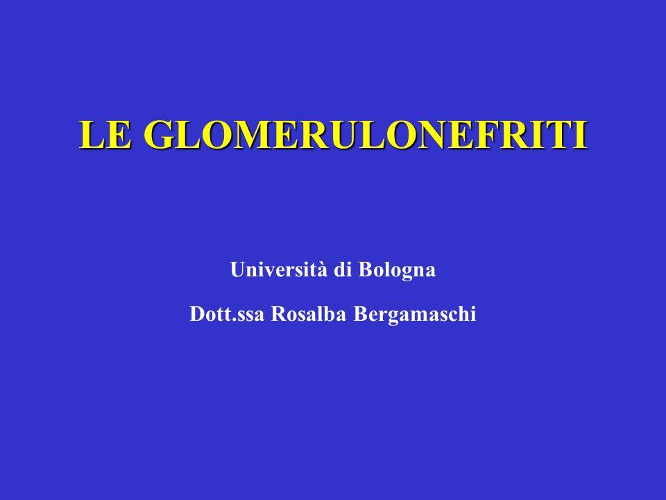 LE GLOMERULONEFRITI Università di Bologna Dott.ssa Rosalba Bergamaschi