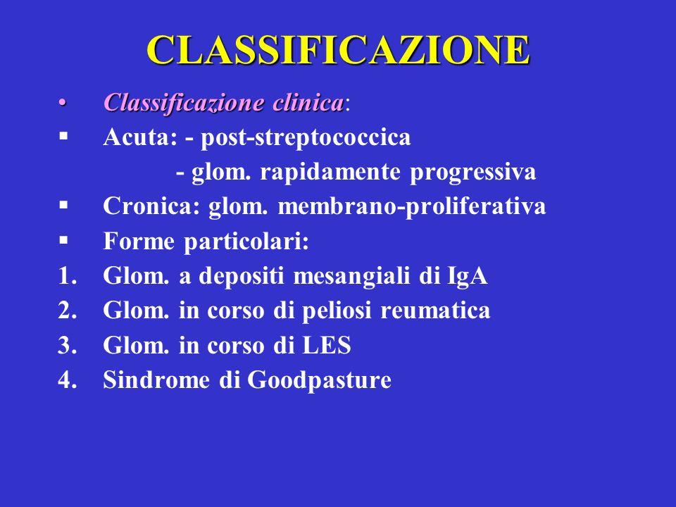 CLASSIFICAZIONE Classificazione clinica: Acuta: - post-streptococcica