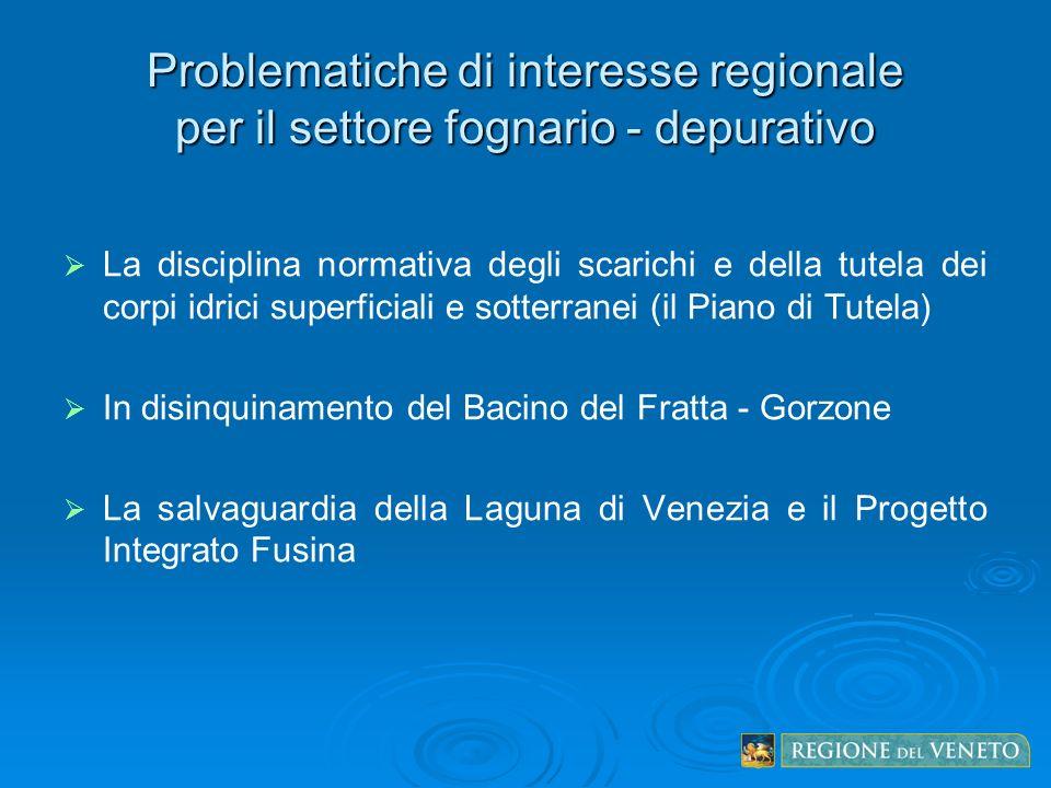 Problematiche di interesse regionale per il settore fognario - depurativo