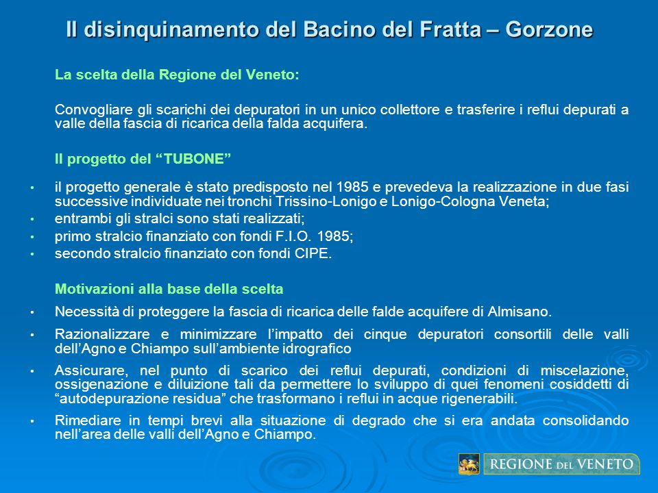 Il disinquinamento del Bacino del Fratta – Gorzone