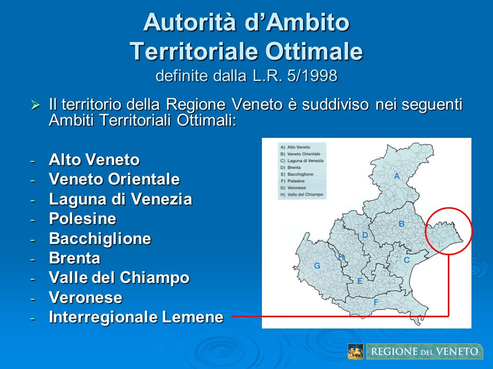 Autorità d'Ambito Territoriale Ottimale definite dalla L.R. 5/1998