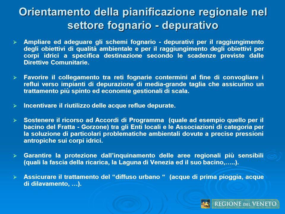 Orientamento della pianificazione regionale nel settore fognario - depurativo