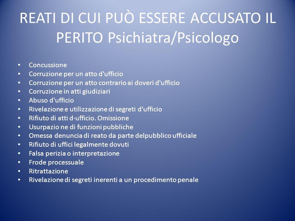 REATI DI CUI PUÒ ESSERE ACCUSATO IL PERITO Psichiatra/Psicologo