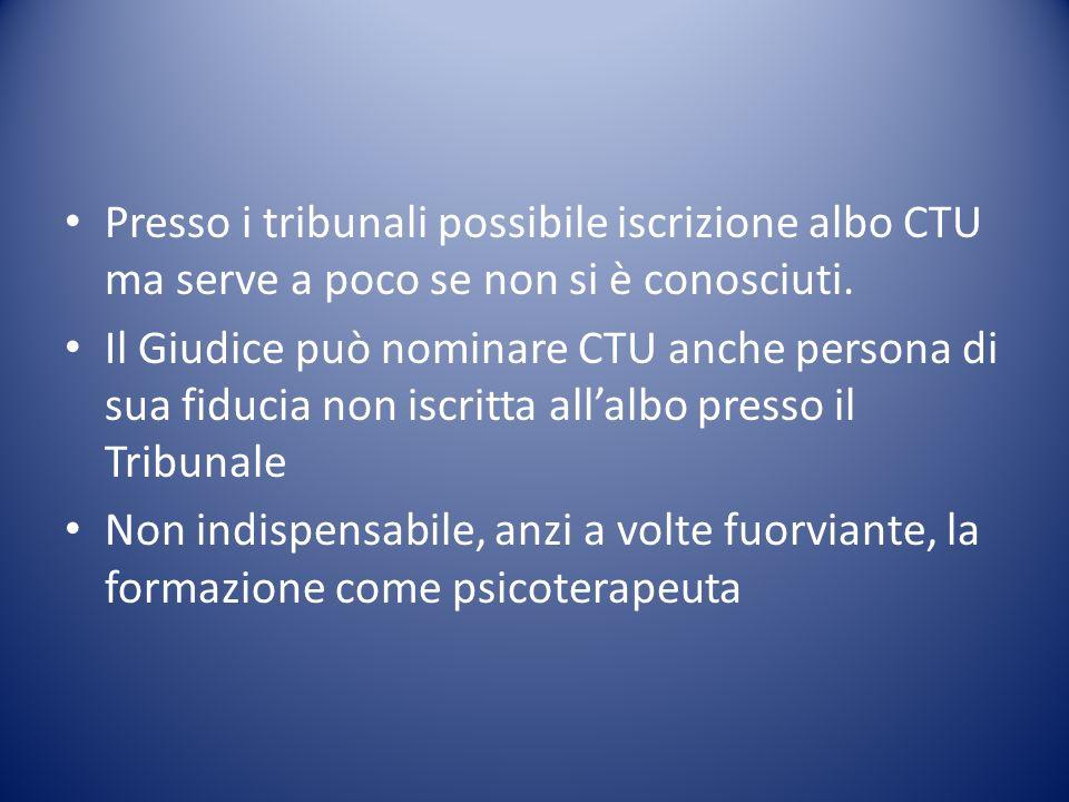 Presso i tribunali possibile iscrizione albo CTU ma serve a poco se non si è conosciuti.