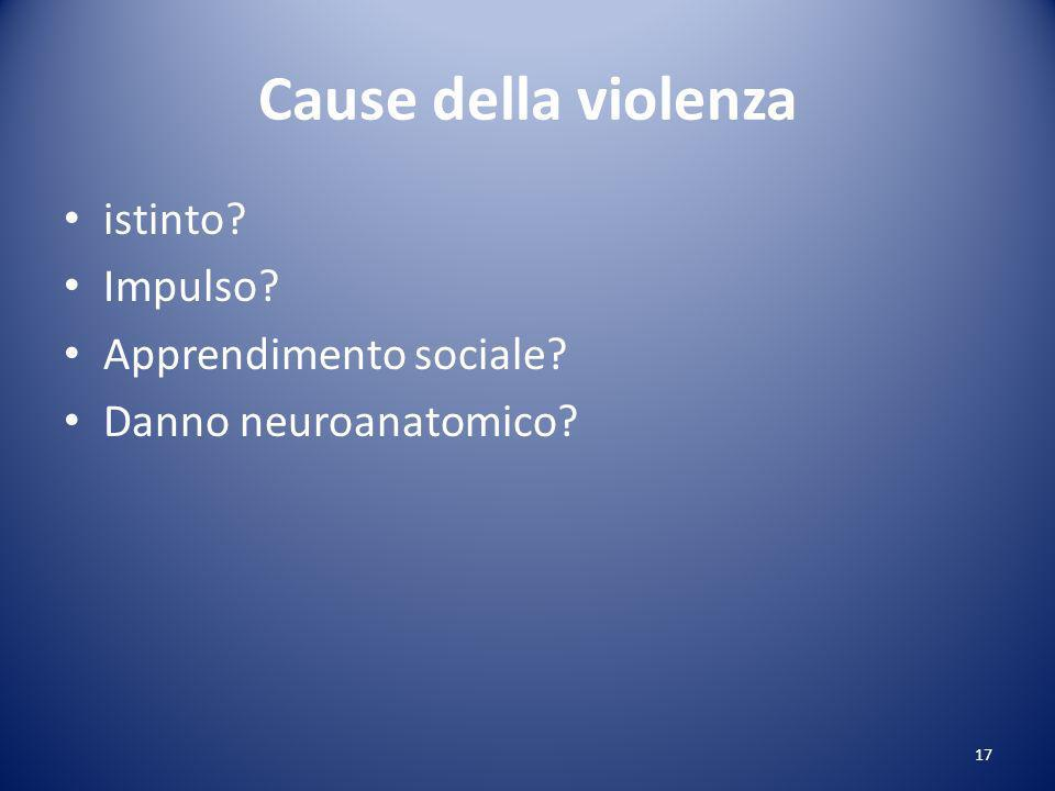 Cause della violenza istinto Impulso Apprendimento sociale