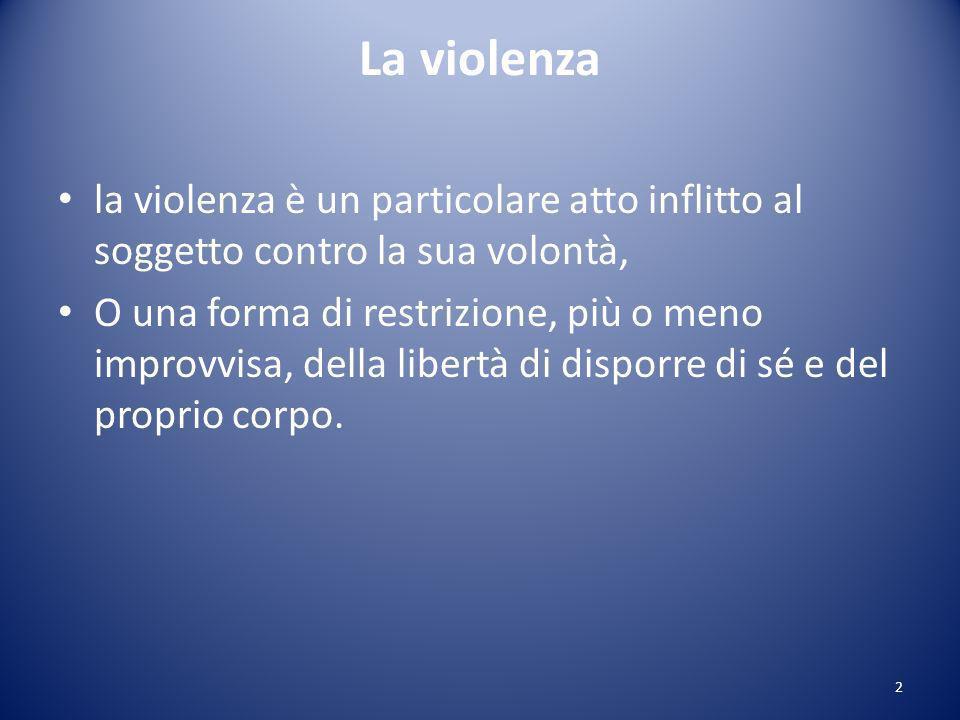 La violenza la violenza è un particolare atto inflitto al soggetto contro la sua volontà,