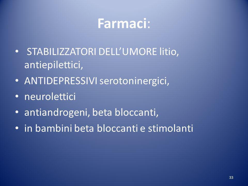 Farmaci: STABILIZZATORI DELL'UMORE litio, antiepilettici,