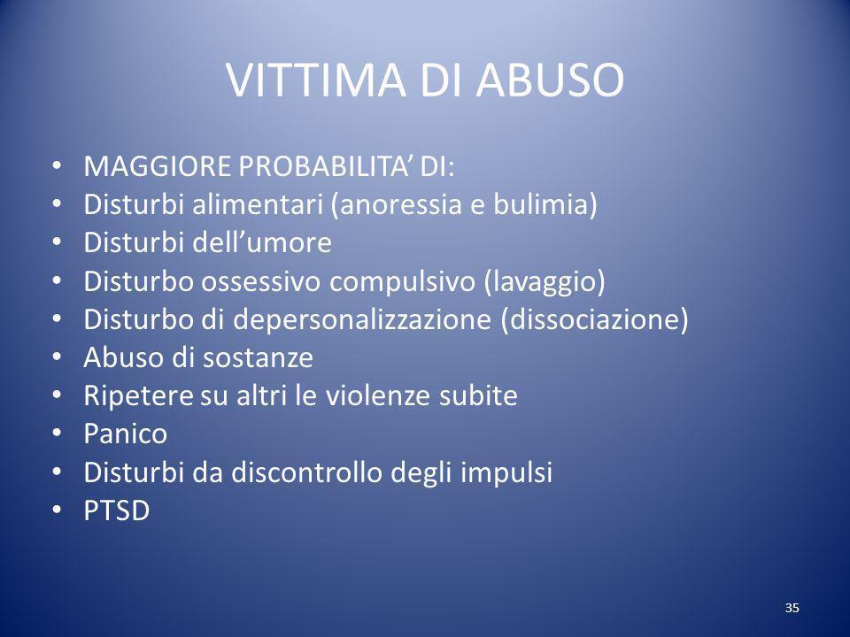 VITTIMA DI ABUSO MAGGIORE PROBABILITA' DI: