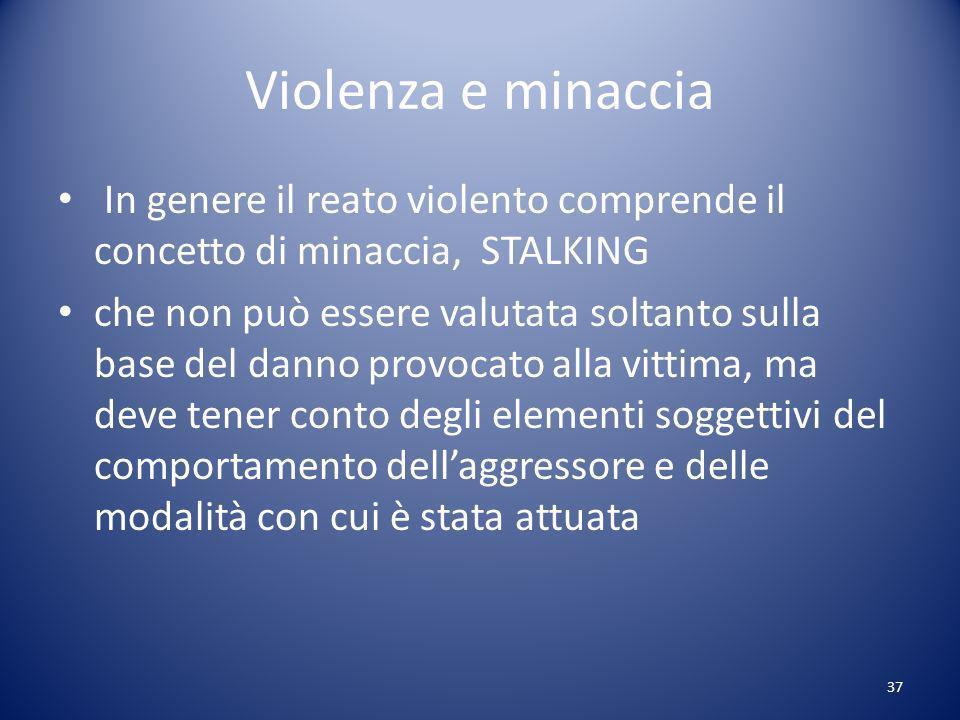 Violenza e minaccia In genere il reato violento comprende il concetto di minaccia, STALKING.