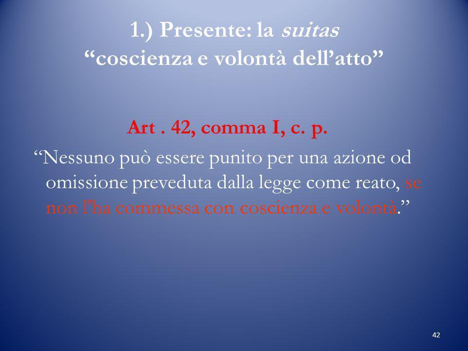 1.) Presente: la suitas coscienza e volontà dell'atto
