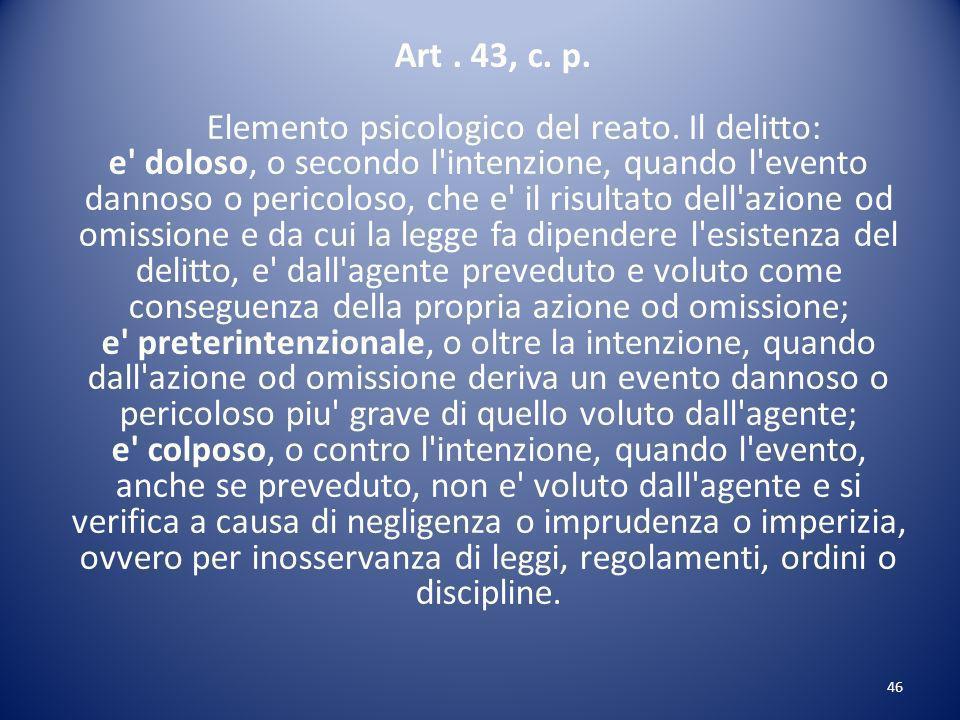 Art. 43, c. p. Elemento psicologico del reato
