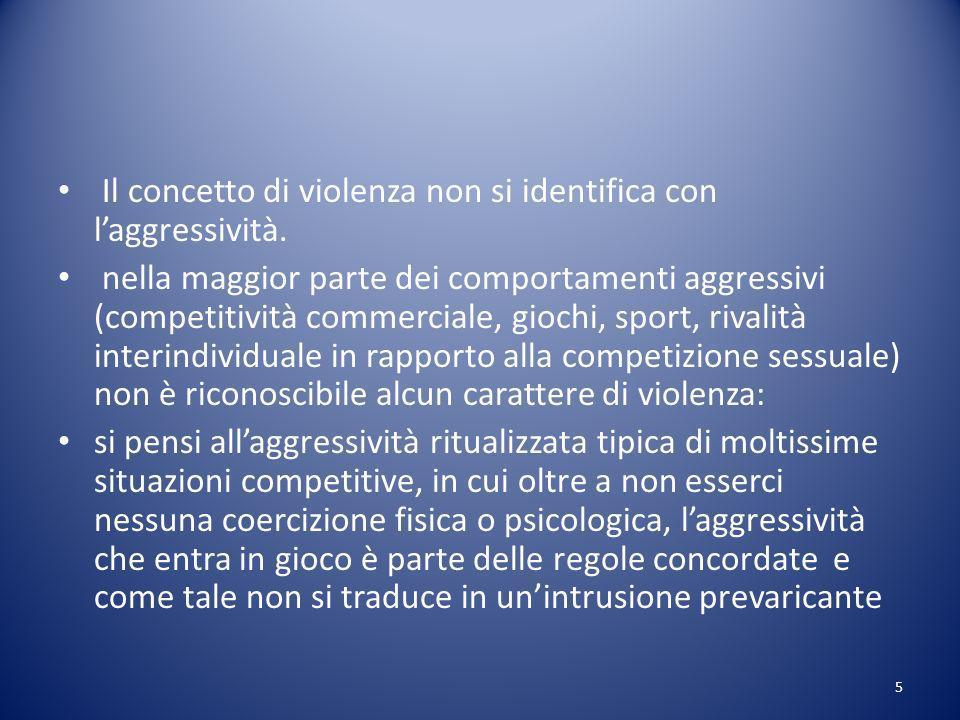 Il concetto di violenza non si identifica con l'aggressività.