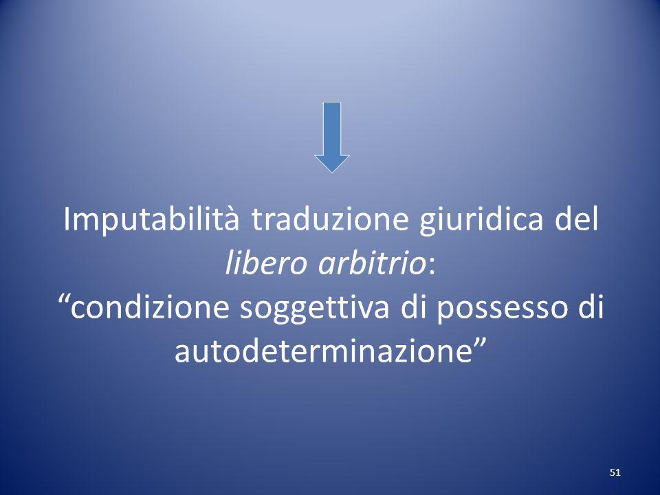 Imputabilità traduzione giuridica del libero arbitrio: condizione soggettiva di possesso di autodeterminazione