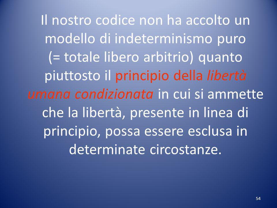 Il nostro codice non ha accolto un modello di indeterminismo puro (= totale libero arbitrio) quanto piuttosto il principio della libertà umana condizionata in cui si ammette che la libertà, presente in linea di principio, possa essere esclusa in determinate circostanze.