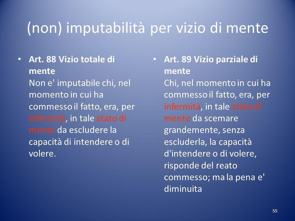 (non) imputabilità per vizio di mente