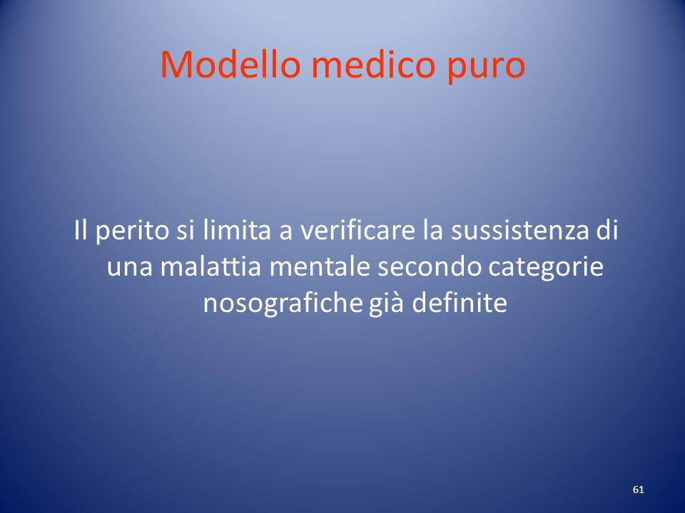 Modello medico puro Il perito si limita a verificare la sussistenza di una malattia mentale secondo categorie nosografiche già definite.