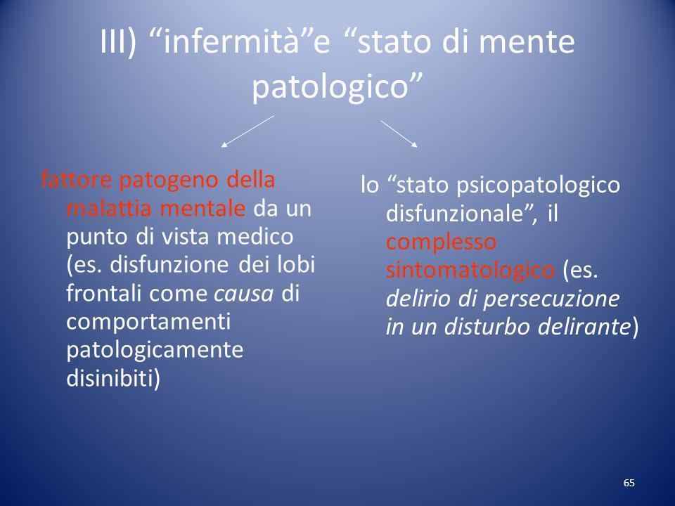 III) infermità e stato di mente patologico
