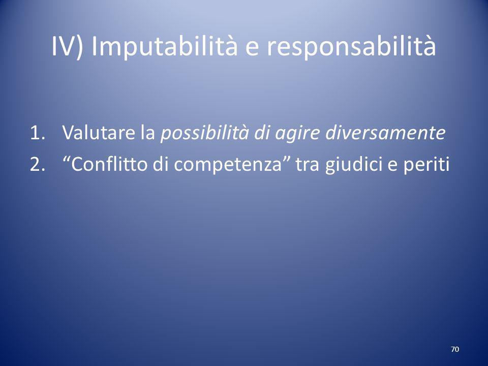 IV) Imputabilità e responsabilità