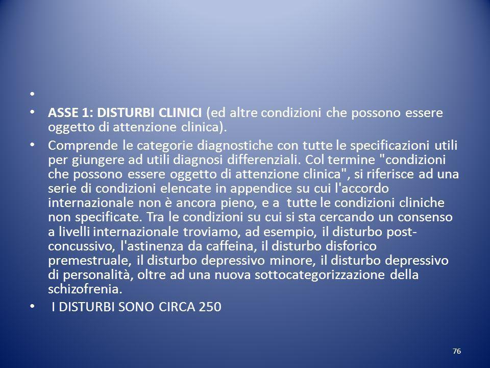 ASSE 1: DISTURBI CLINICI (ed altre condizioni che possono essere oggetto di attenzione clinica).