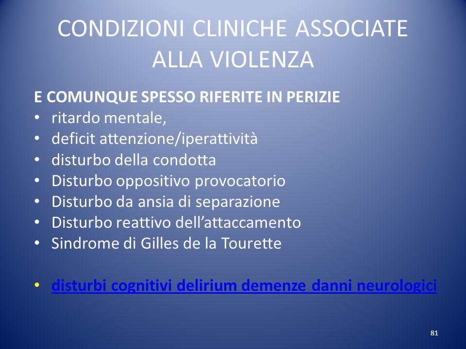 CONDIZIONI CLINICHE ASSOCIATE ALLA VIOLENZA
