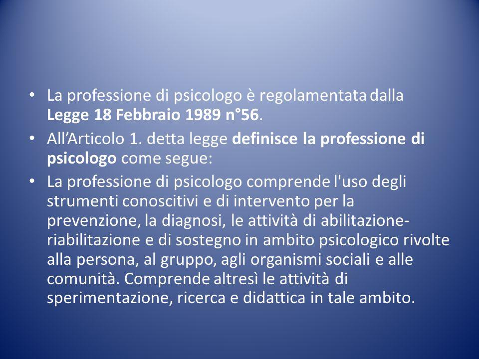 La professione di psicologo è regolamentata dalla Legge 18 Febbraio 1989 n°56.