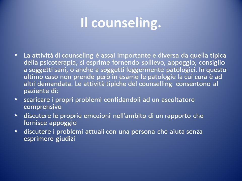 Il counseling.
