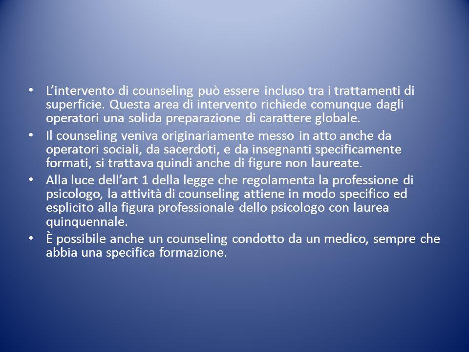 L'intervento di counseling può essere incluso tra i trattamenti di superficie. Questa area di intervento richiede comunque dagli operatori una solida preparazione di carattere globale.