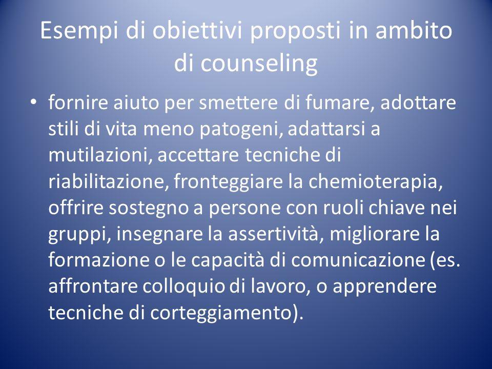 Esempi di obiettivi proposti in ambito di counseling
