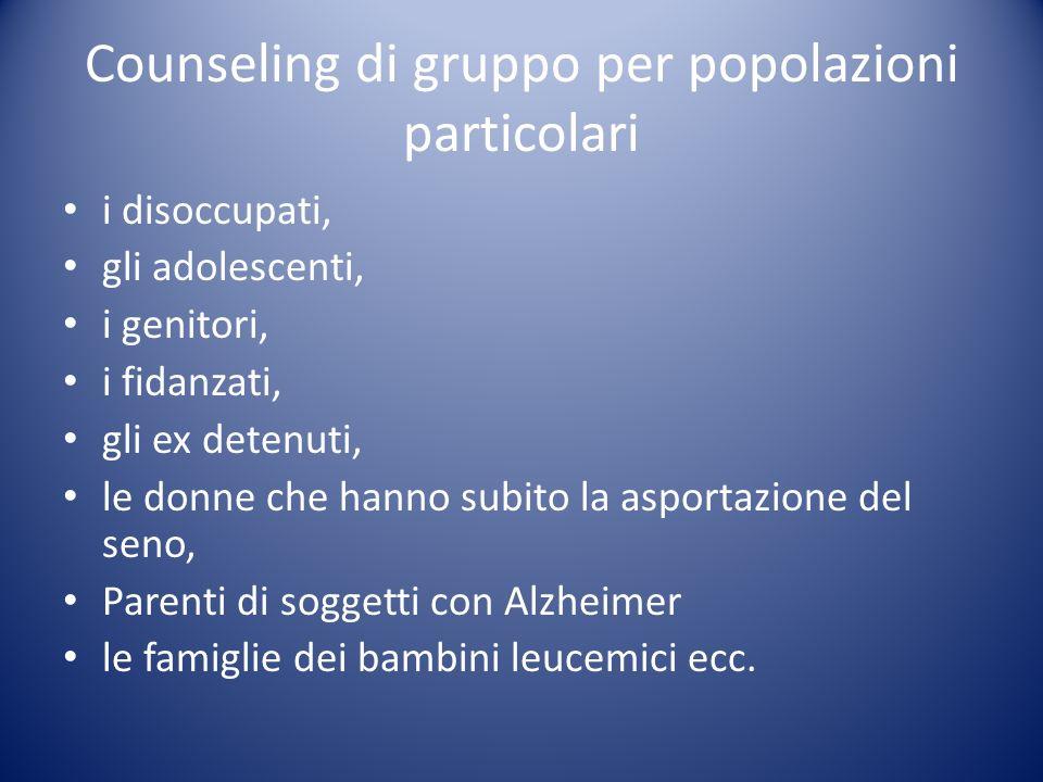 Counseling di gruppo per popolazioni particolari